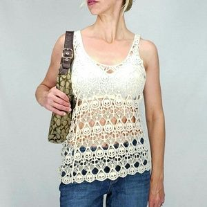 Tops - 🔴3/$25. Womens Skull Crocheted Tank Top